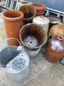 TWO CHIMNEY POTS, GARDEN PLANTERS, A COMPOSITE PLINTH, STONEWARE JARS AND A GALVANISED MOP BUCKET.