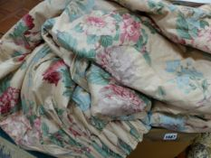 THREE TITLEY AND MARR FLORAL GLAZED CHINTZ CURTAINS, LINED AND INTERLINED WITH APPROXIMATELY 2 METRE