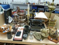 A VINTAGE CANDLESTICK TELEPHONE, A TAXIDERMY FOX MASK, A CORONA FOLDING TYPEWRITER AND OTHER VARIOUS