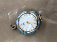A LADIES BUCHERER FOB WATCH WITH ENAMELED BORDER DECORATION.