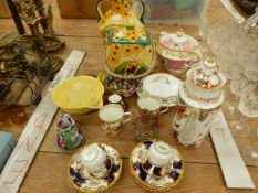 A PAIR OF COALPORT COFFEE CUPS AND SAUCERS, CROWN DERBY COFFEE POT AND CUPS OLDE AVESBURY PATTERN,