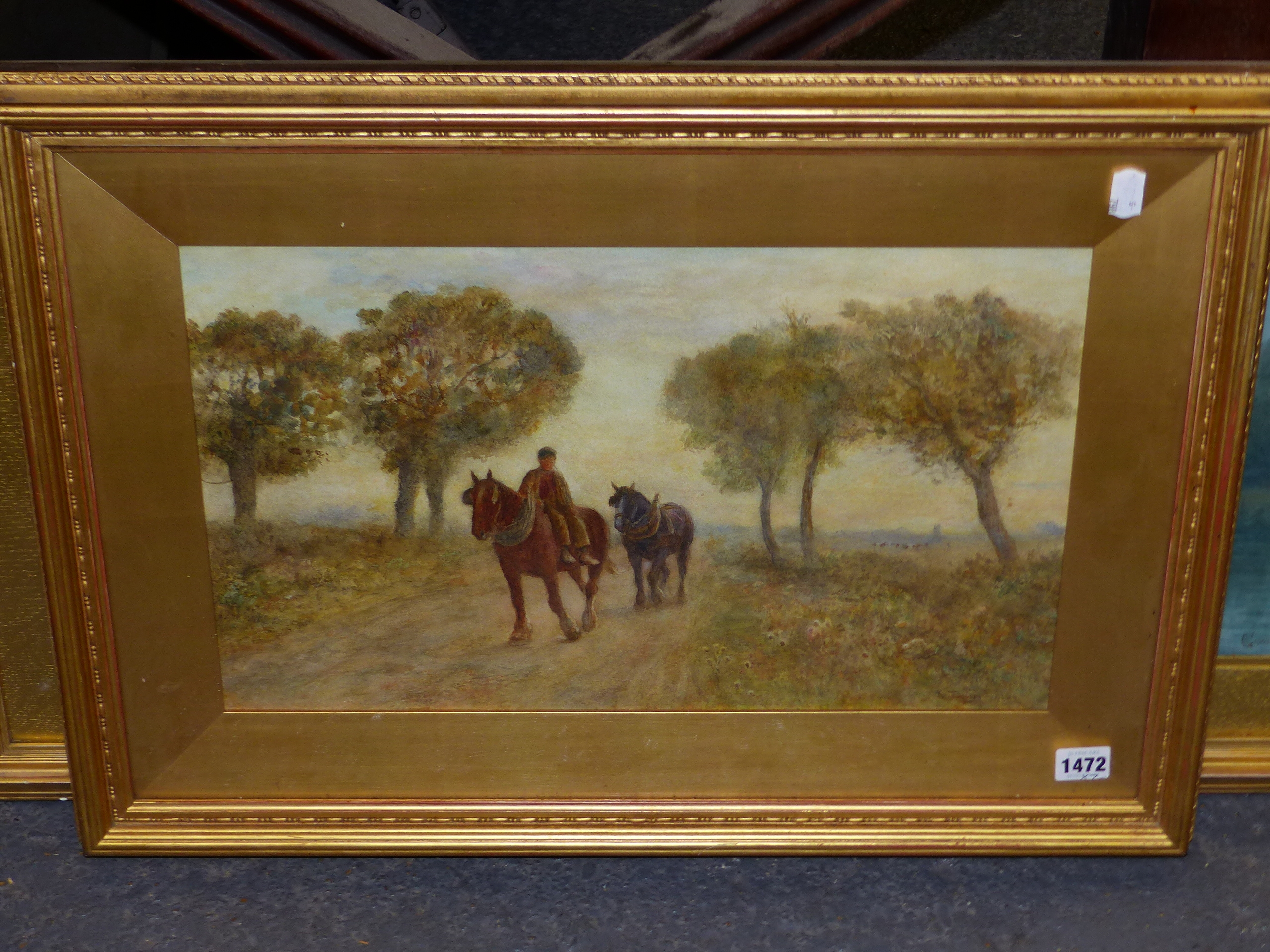 19th/20th C. ENGLISH SCHOOL HOMEWARD BOUND, SIGNED INDISTINCTLY WATERCOLOUR. 28 x 46 cms TOGETHER - Image 3 of 15