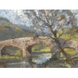 •AUBREY SYKES (1910-1995) ARR. THE BRIDGE PASTEL 53 x 71 cm. TOGETHER WITH OTHER BY THE SAME HAND OF