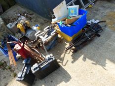 VARIOUS POWER TOOLS, TO INCLUDE A SMALL COMPRESSOR, TWO CASED ERBAUER SANDERS, BUILDERS TOOLS, ETC.