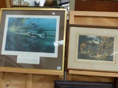 AFTER ROBERT TAYLOR THE DAMBUSTERS A COLOUR PRINT WITH PENCIL SIGNATURES, 46 x 53cm THE OTHER WITH