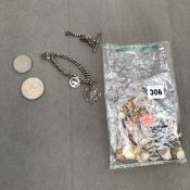 A SILVER CHARM BRACELET, VARIOUS SILVER AND OTHER COINAGE