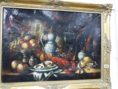 A DECORATIVE OIL PAINTING OF A TABLE TOP STILL LIFE AFTER THE OLD MASTERS, SIGNED INDISTINCTLY,