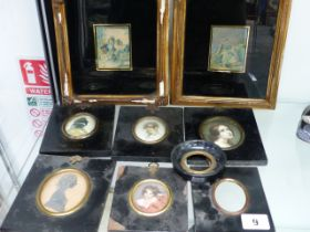 A 19th.C. PORTRAIT SILHOUETTE MINIATURE TOGETHER WITH FOUR PRINTED EXAMPLES, TWO BAXTER PRINTS AND