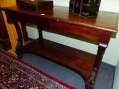 A 19th C. MAHOGANY CONSUL TABLE WITH SHAPED SUPPORTS AND PLATFORM UNDER TIER. W 122 X D 59 X H