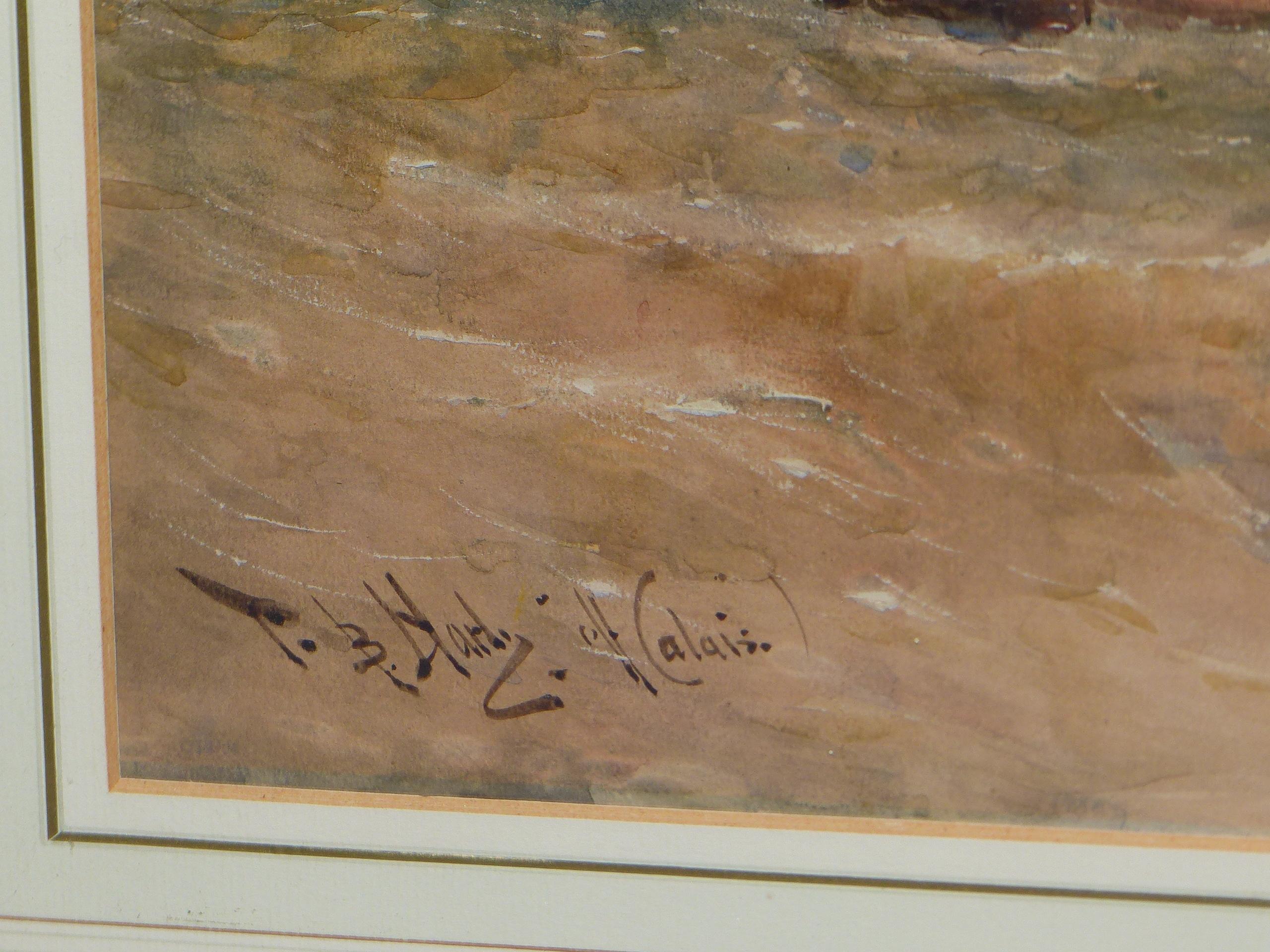 THOMAS BUSH HARDY (1842 - 1897). SHIPPING OFF CALAIS, SIGNED WATERCOLOUR, 40 x 68cms. - Image 3 of 6