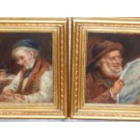 JULES VIBERT (19th C. SCHOOL) TWO PORTRAITS OF ELDERLY GENTLEMAN SIGNED, OIL ON PANEL 20 x 16 cms (