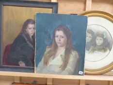 20th CENTURY SCHOOL, TWO PORTRAITS OF GIRLS, BOTH OIL ON CANVAS (ONE LAID DOWN) TOGETHER WITH