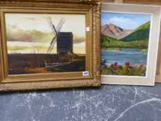 TWO DECORATIVE LANDSCAPE OIL PAINTINGS, BOTH SIGNED (2)