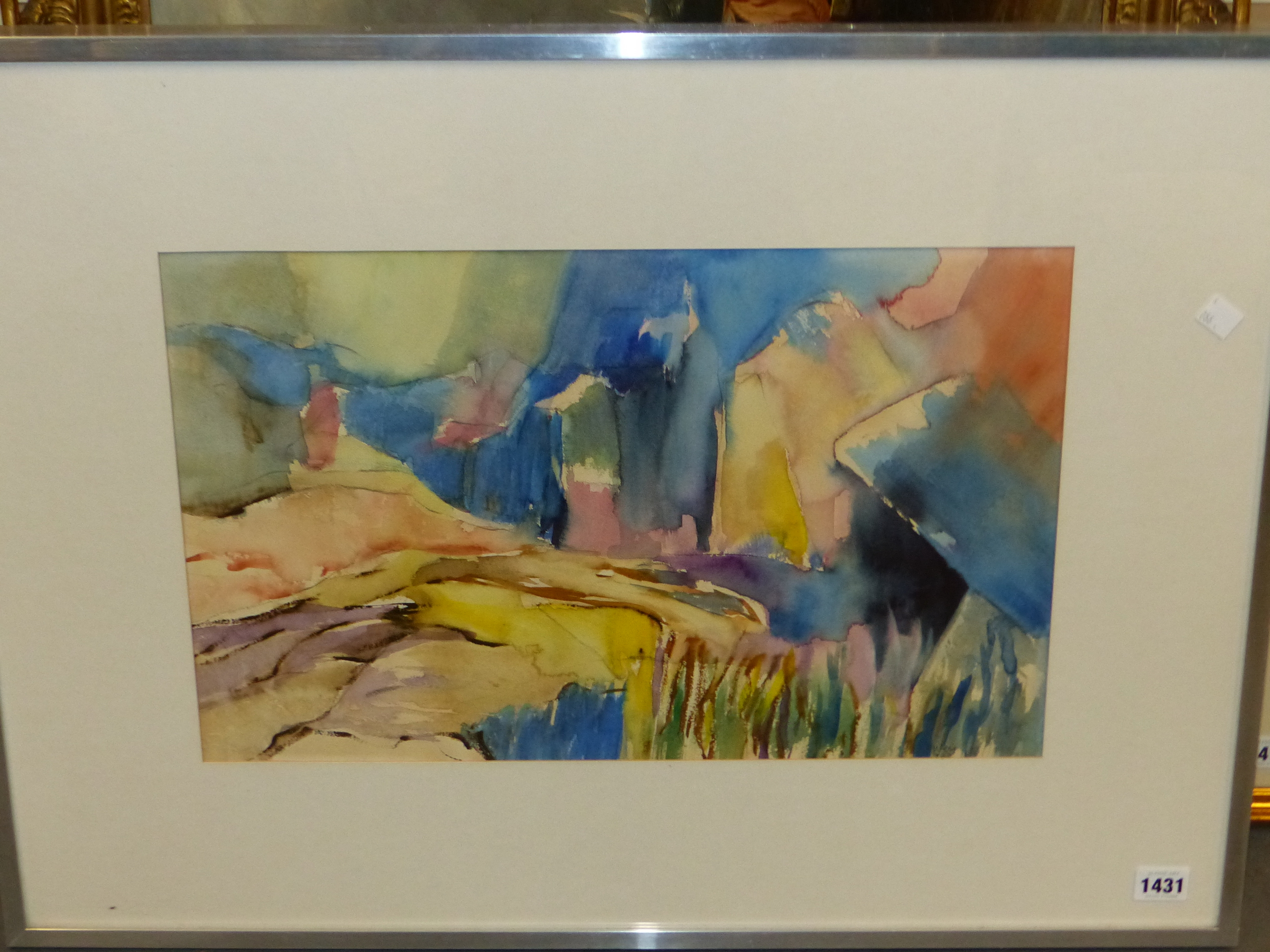 •PETER WEY (20th / 21st CENTURY ENGLISH SCHOOL). ARR. LANDSCAPE IN BLUE, INSCRIBED VERSO, - Image 4 of 6