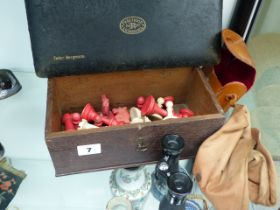 AN ANTIQUE BONE PART CHESS SET IN AN OAK BOX TOGETHER WITH A DRAUGHTSMAN'S SET AND A PAIR OF SMALL