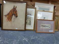 A FRAMED STEVENGRAPH OF A HORSE RACE, TOGETHER WITH VARIOUS SPORTING PRINTS, WATERCOLOURS, SIZES