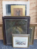 A GROUP OF WATERCOLOURS AND PASTELS OF RURAL SUBJECTS INCLUDING ANIMALS, LANDSCAPES, ETC, SIZES