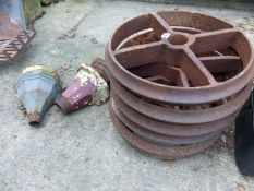 SIX MATCHING CAST IRON CART WHEELS, TOGETHER WITH FOUR PAINTED RAIN HOPPERS.