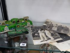 THREE MOTOR RACING RELATED PHOTOGRAPHS, TOGETHER WITH A FRENCH CLOCKWORK CAR, AND A FURTHER