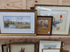 THREE 19th/20th C. LANDSCAPE WATERCOLOURS AND A FLORAL PRINT (3)