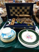 A VINTAGE GAMES COMPENDIUM BY F H AYRES, TOGETHER WITH SPODE PLATES, TWO MASKS,AND MINTON BLUE