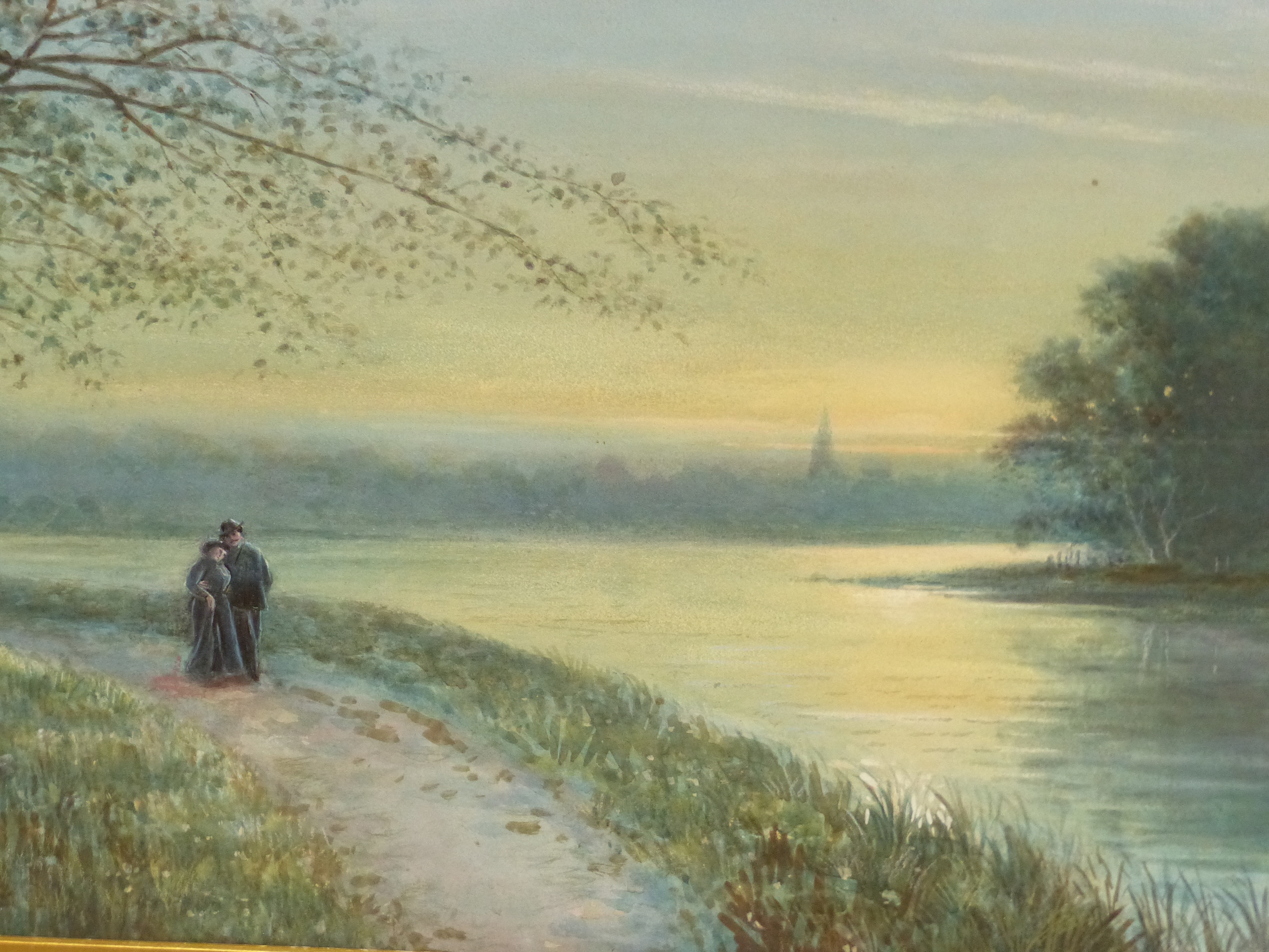 19th/20th C. ENGLISH SCHOOL HOMEWARD BOUND, SIGNED INDISTINCTLY WATERCOLOUR. 28 x 46 cms TOGETHER - Image 7 of 15