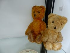 TWO SMALL VINTAGE JOINTED TEDDY BEARS