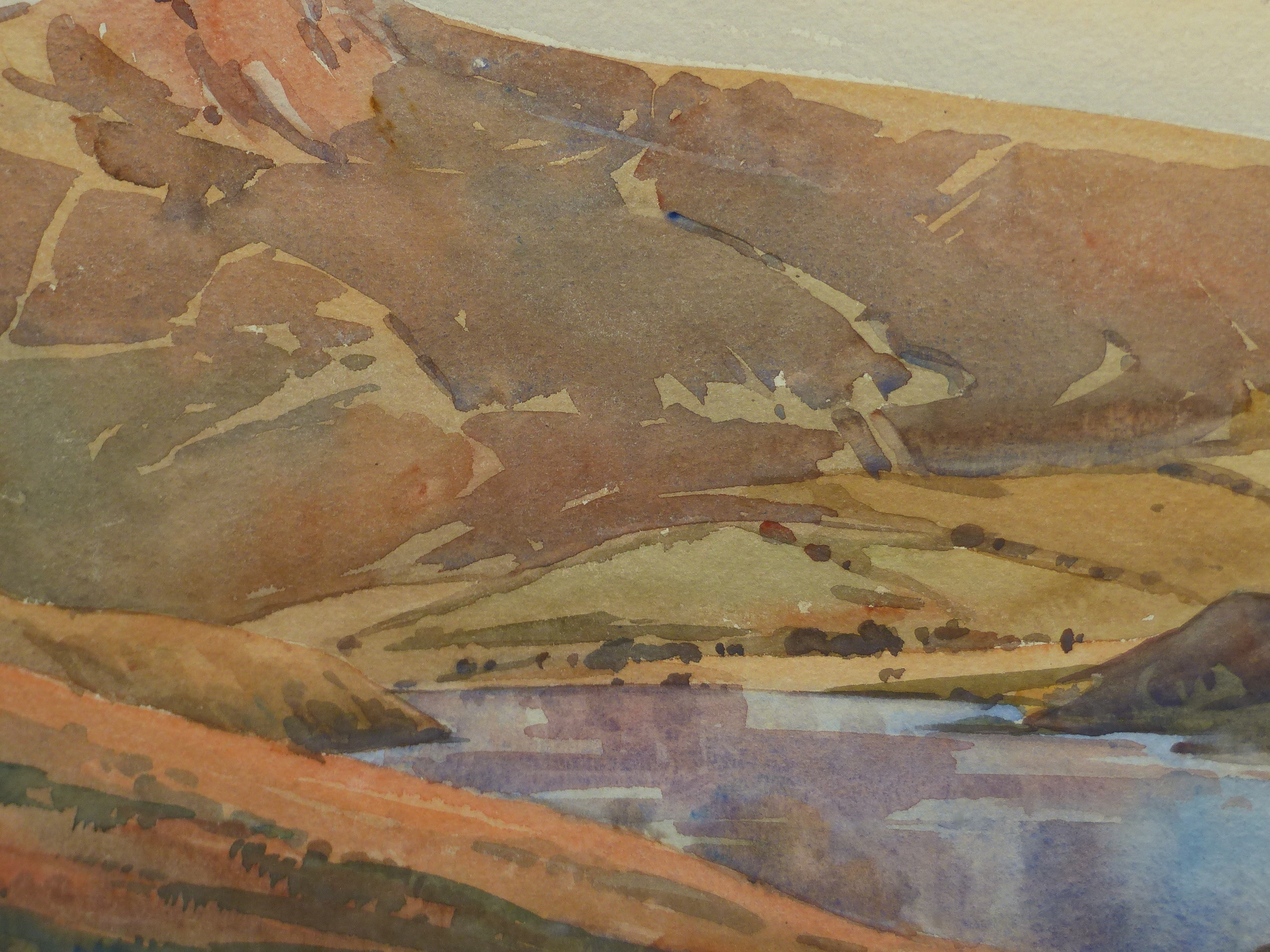 ROOPE? (20th CENTURY SCHOOL). A HIGHLAND LAKE LANDSCAPE, WATERCOLOUR, SIGNED AND DATED, 26 x 35cms. - Image 2 of 5