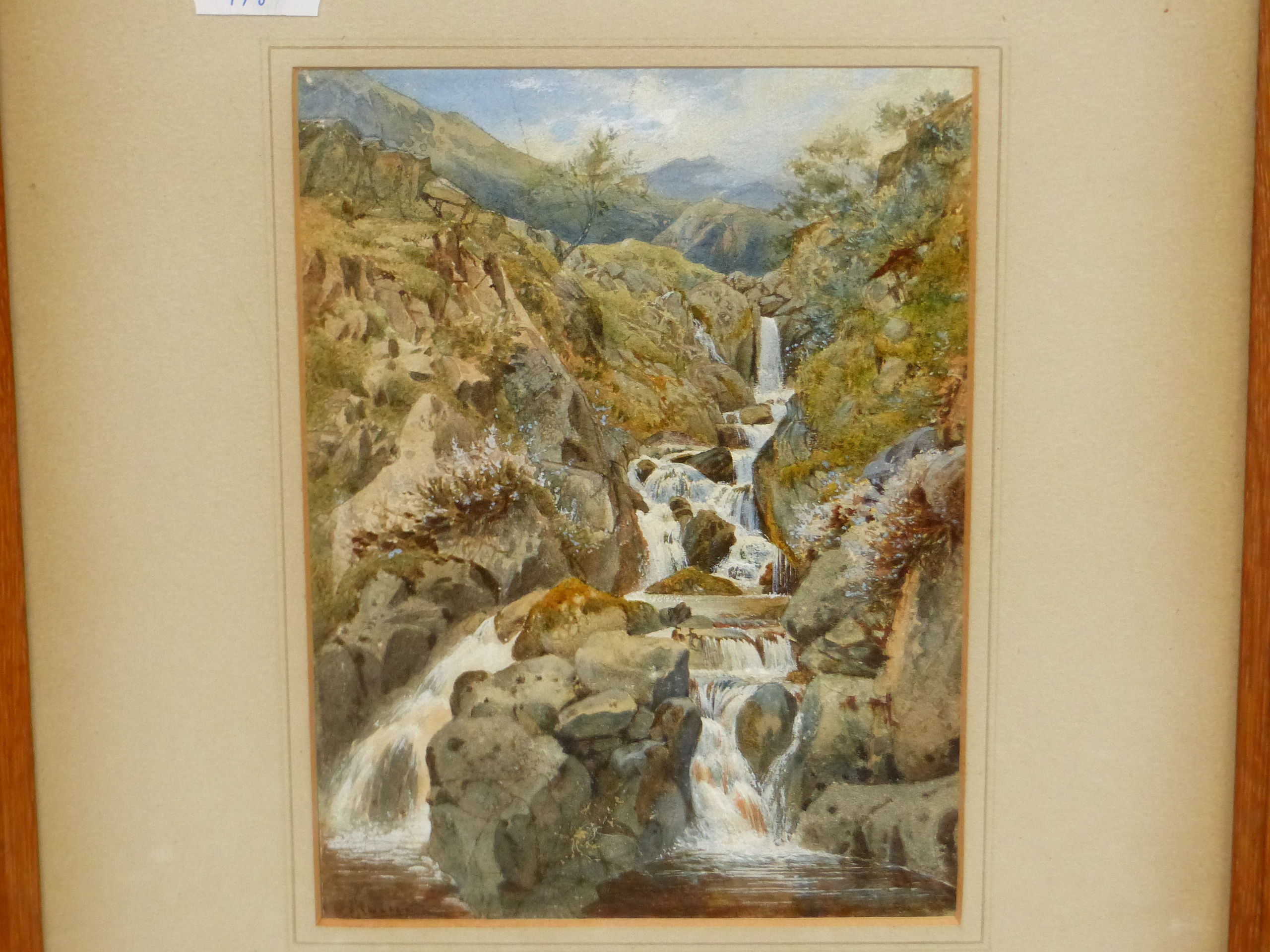 19th/20th C. ENGLISH SCHOOL. A HIGHLAND WATERFALL, SIGNED INDISTINCTLY, WATERCOLOUR 18 x 13cms - Image 6 of 9