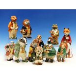 ELEVEN CINQUE PORT POTTERY, RYE, HUMANISED ANIMAL FIGURINES, TO INCLUDE: A FROG, AN OWL, A PHEASANT,