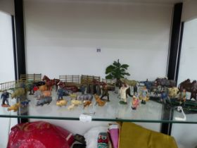 A COLLECTION OF BRITAINS AND OTHER DIE CAST FARM ANIMALS ETC.