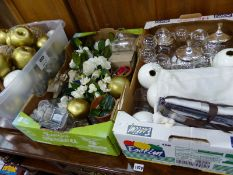 A QUANTITY OF ARTIFICIAL FRUITS, DESIGNER CANDLE STANDS, VASES ETC.