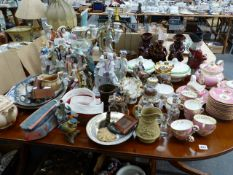 A QUANTITY OF ANTIQUE AND LATER CHINAWARE, INCLUDING STAFFORDSHIRE FIGURES, A VICTORIAN PART TEA