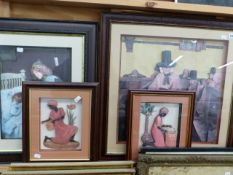 UNUSUAL SHADOW BOX FRAMED FIGURAL PICTURES SIZES VARY LARGEST 67 x 67cm (4)