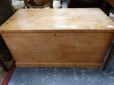 A PINE COFFER WITH INTERIOR CANDLE BOX. W 93 x D 49 x H 50cms.