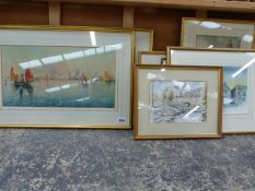 A GROUP OF FURNISHING PRINTS AND WATERCOLOURS, SIZES VARY