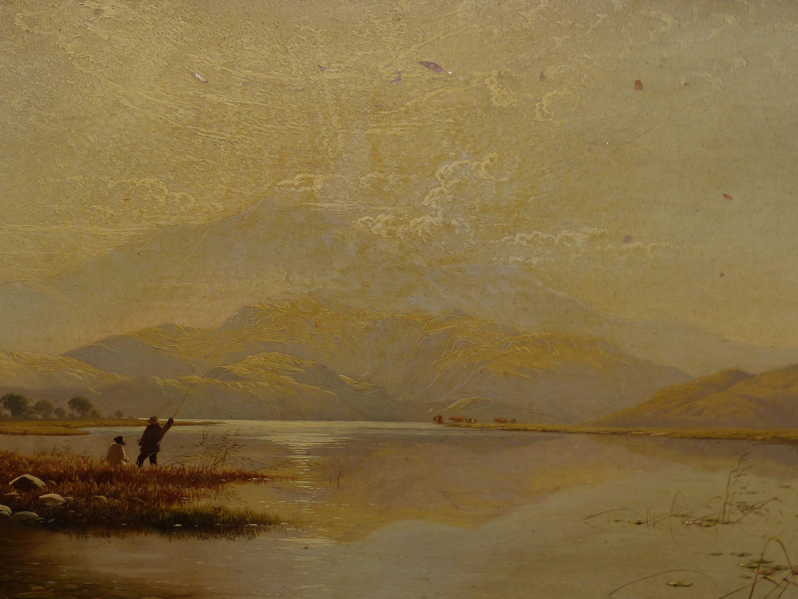 EDWIN BODDINGTON (1836 - 1905) A WELSH LANDSCAPE, OIL ON CANVAS, LABEL VERSO 30 x 56 cm