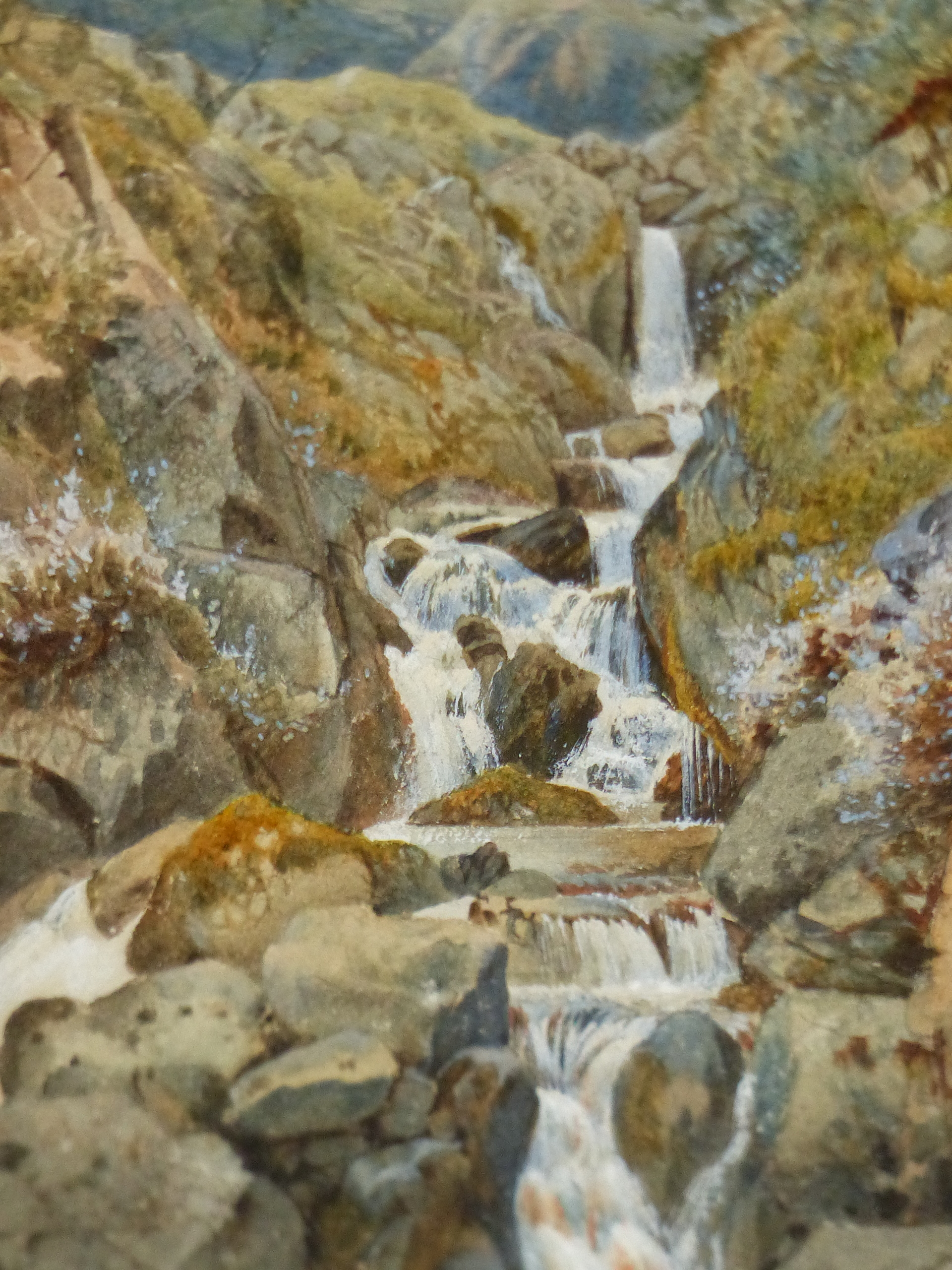 19th/20th C. ENGLISH SCHOOL. A HIGHLAND WATERFALL, SIGNED INDISTINCTLY, WATERCOLOUR 18 x 13cms - Image 2 of 9