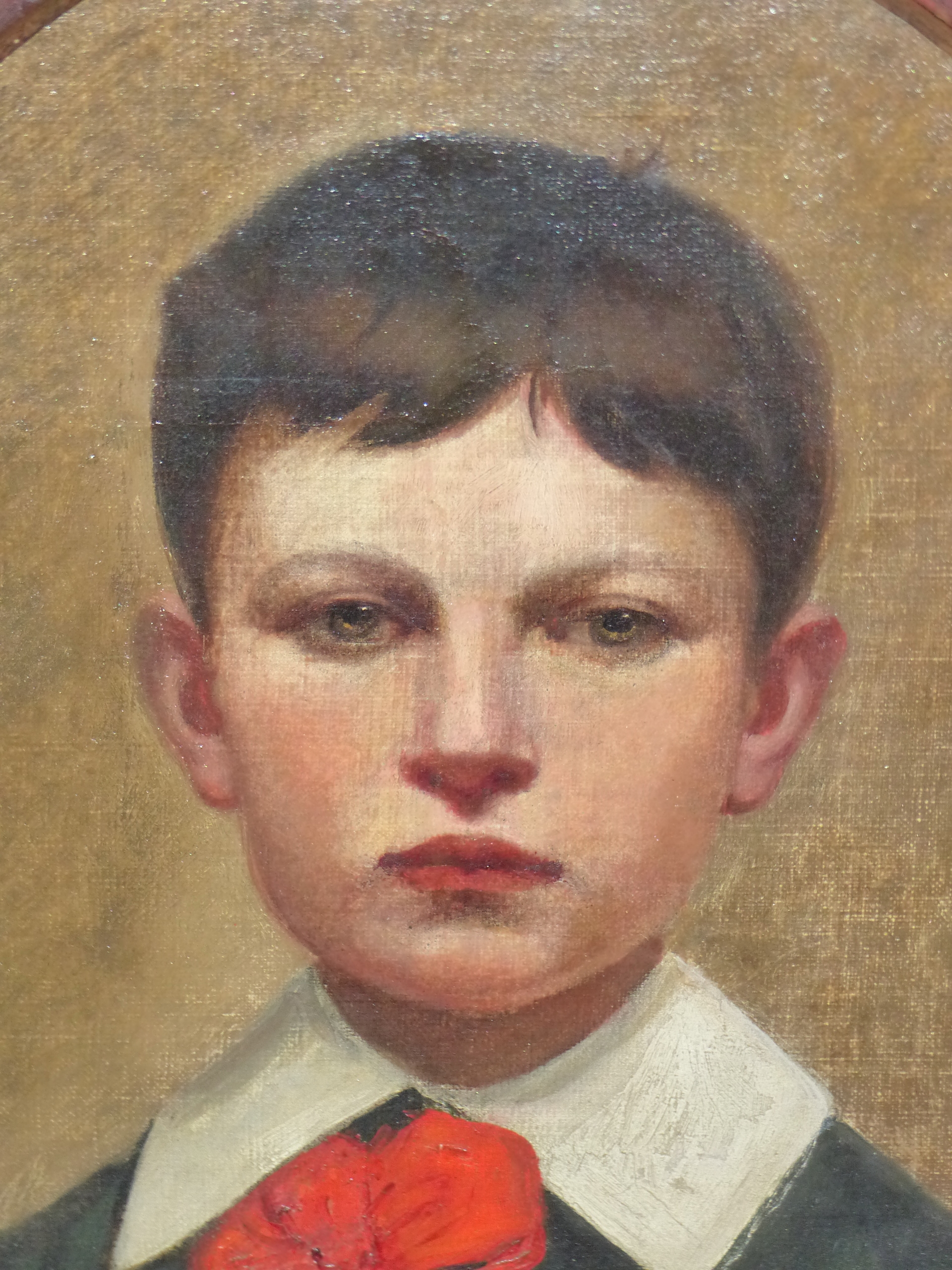 19th CENTURY CONTINENTAL SCHOOL FEIGNED OVAL PORTRAIT OF A BOY. OIL ON CANVAS DECORATIVE PAINTED - Image 3 of 7
