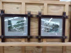 A PAIR OF TRAMP ART TYPE FRAMES WITH VINTAGE LANDSCAPE PHOTOS, SIZES OVERALL H43 W47cm