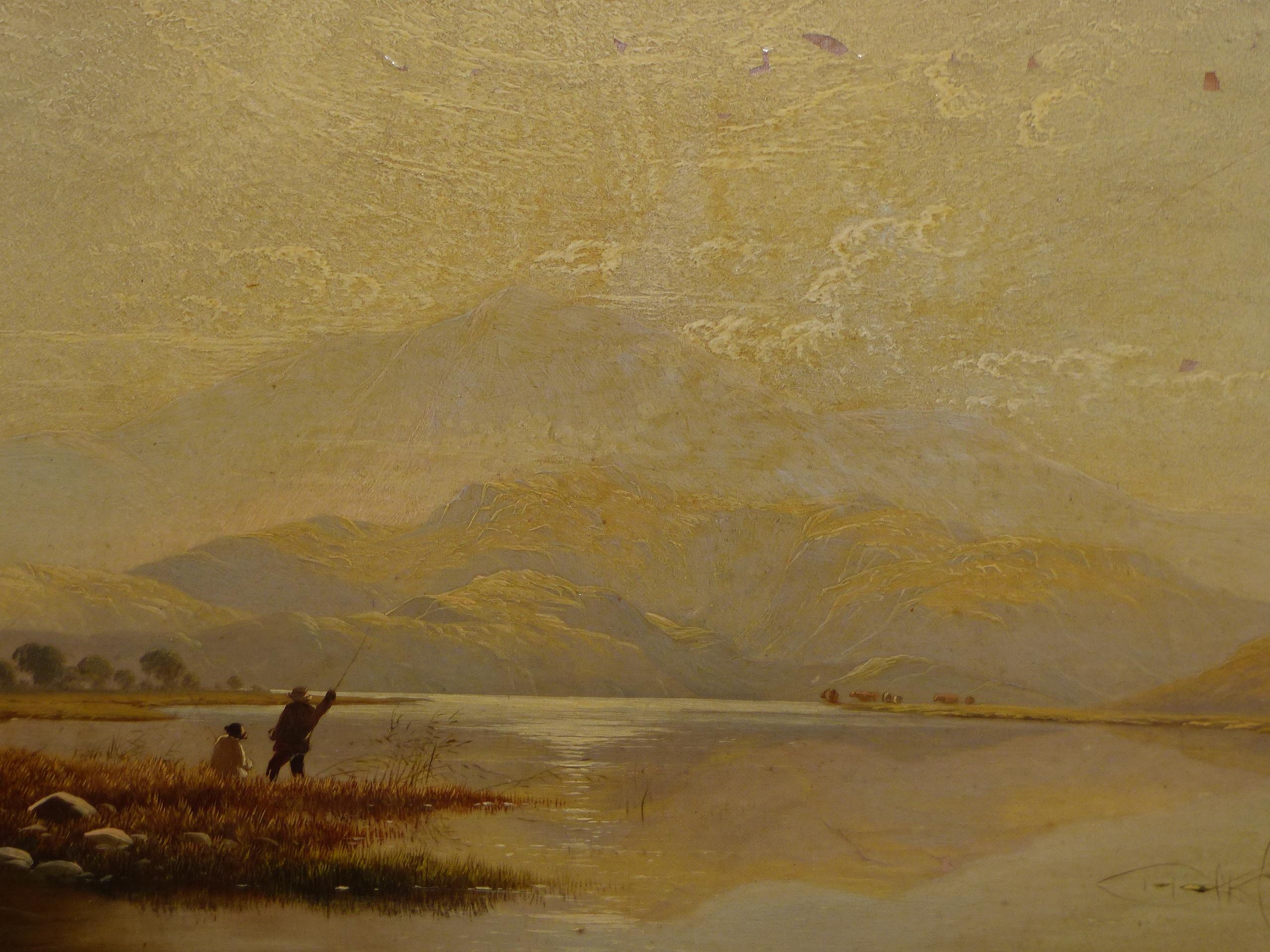 EDWIN BODDINGTON (1836 - 1905) A WELSH LANDSCAPE, OIL ON CANVAS, LABEL VERSO 30 x 56 cm - Image 2 of 9