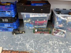 A LARGE COLLECTION OF DIE CAST MODEL VEHICLES BY VARIOUS MAKERS INC. CORGI, BURAGO, MAISTO, SAICO