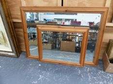 TWO PINE FRAMED BEVEL EDGE MIRRORS, LARGEST 101 x 74cm (2)