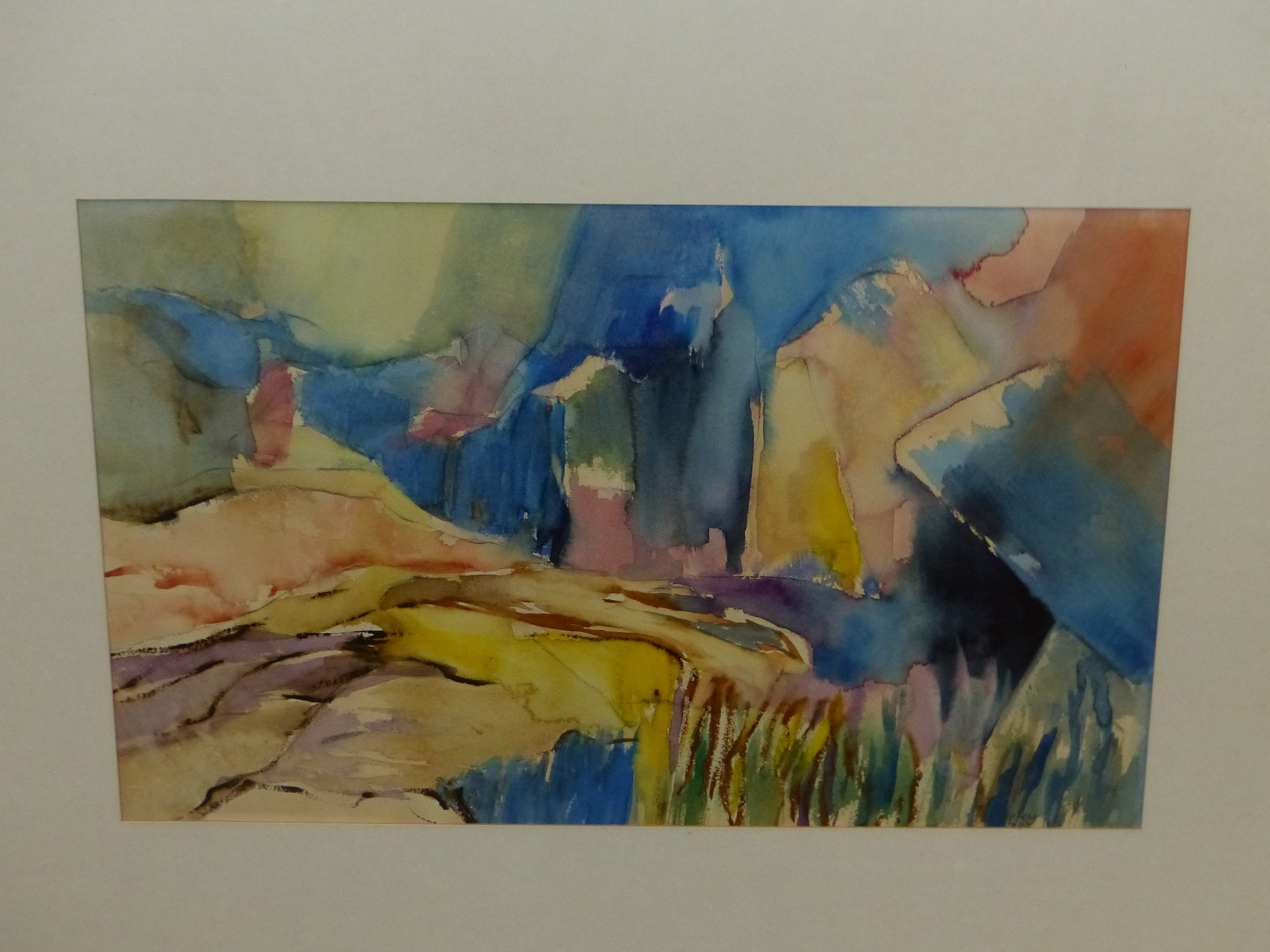 •PETER WEY (20th / 21st CENTURY ENGLISH SCHOOL). ARR. LANDSCAPE IN BLUE, INSCRIBED VERSO,