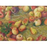 •JOAN LAWRENCE (20th CENTURY SCHOOL). ARR. GALA APPLES AND PACKHAM PEARS, SIGNED WATERCOLOUR, 50 x