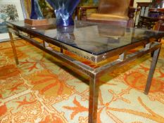 A SMOKEY GLASS TOPPED BRASS COFFEE TABLE WITH TWO WINE TABLE EN SUITE