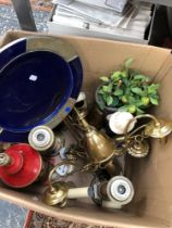 A BOX OF LAMPS ETC