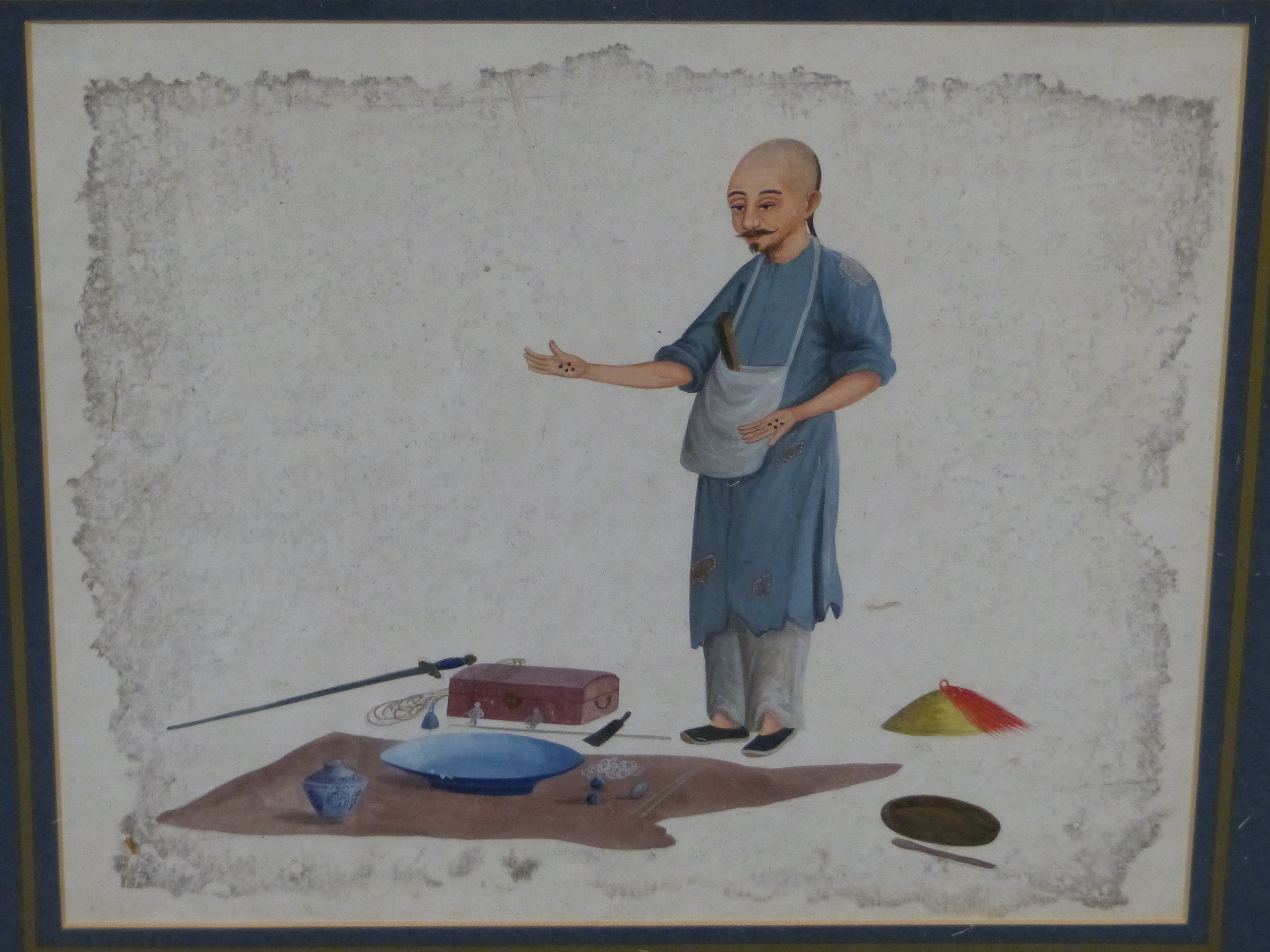TWO GILT FRAMED CHINESE WATERCOLOURS, ONE OF A MAN SEATED AT A TABLE WRITING, THE OTHER OF A MAN