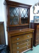 A 19th C. MAHOGANY SECRETAIRE DISPLAY CABINET, THE ASTRAGAL GLAZED DOORS ABOVE A SLATTED TAMBOUR