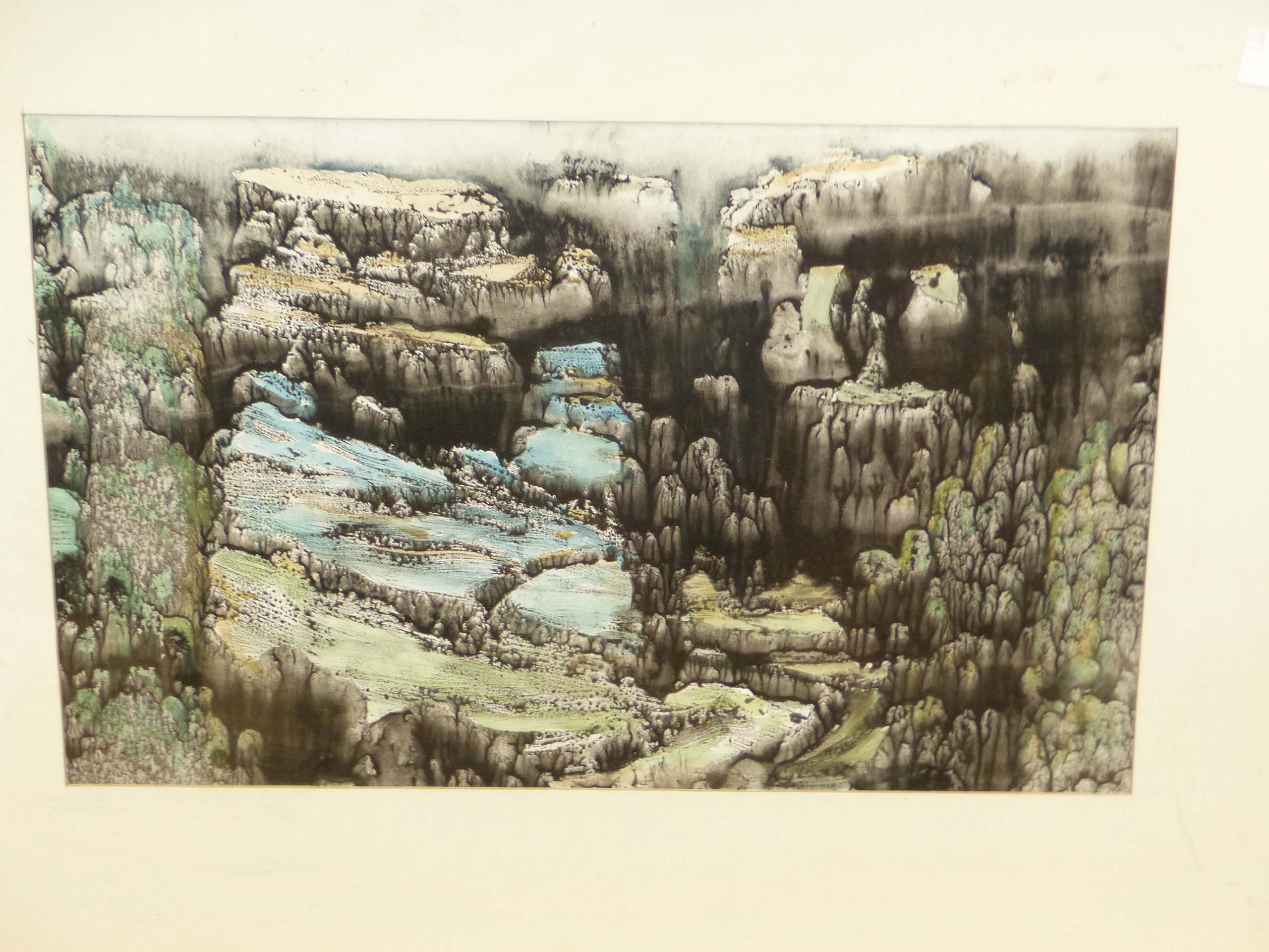20th CENTURY JAPANESE SCHOOL. A WOODED RIVER VALLEY, SIGNED INDISTINCTLY. 33 x 24cms. TOGETHER - Image 3 of 4